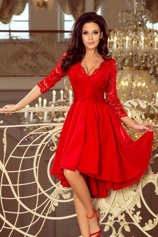 210-6 NICOLLE - sukienka z dłuższym tyłem z koronkowym dekoltem - CZERWONA