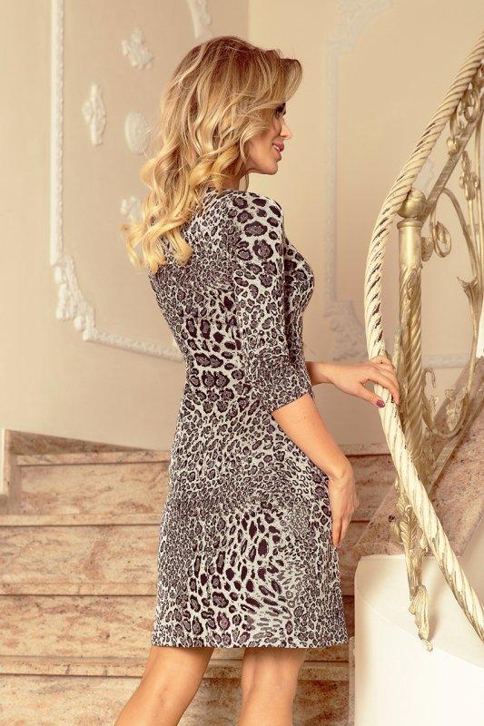 88-19 Sukienka z rękawkiem i trapezową spódnicą - wzór: panterka