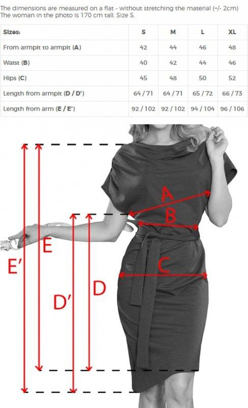 240-2 ROXI sukienka z asymetryczną spódnicą i paskiem - BORDOWA