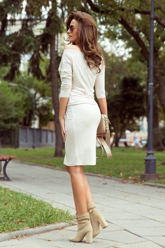 13-109 Sukienka sportowa - BEŻ MELANŻ