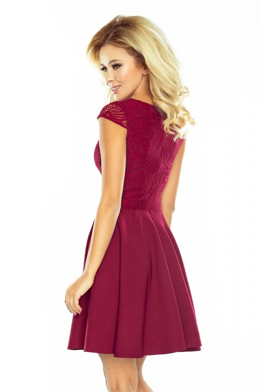 157-3 Sukienka rozkloszowana MARTA z koronką - BORDOWA