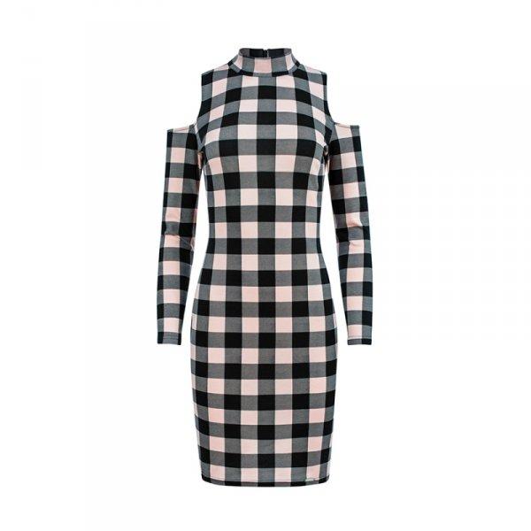 165-1 Sukienka w czarno-RÓŻOWĄ kratkę z półgolfem i dziurami na ramionach