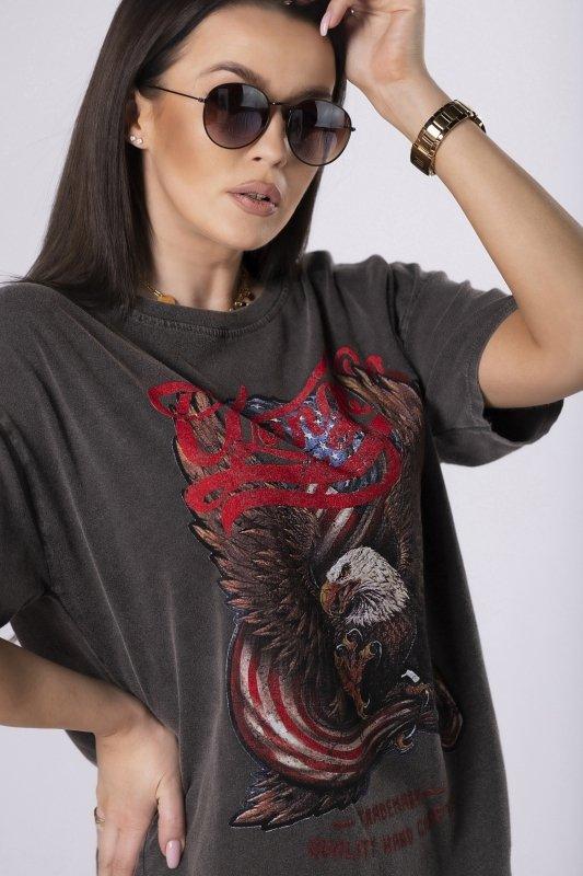 dekatyzowany t-shirt z printem