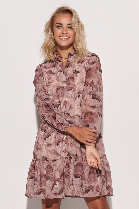 Sukienka z falbankami w kwieciste wzory w.9 M585