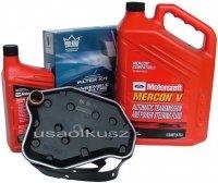 Filtr oleju oraz syntetyczny olej Motorcraft MERCON V automatycznej skrzyni biegów Ford Explorer