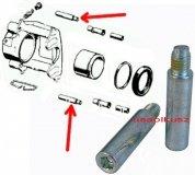 Zestaw prowadnic przedniego zacisku hamulcowego Chrysler LeBaron 1984-1988