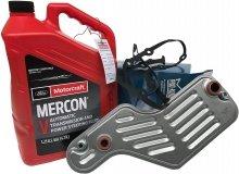 Filtr oleju oraz syntetyczny olej Motorcraft MERCON V automatycznej skrzyni biegów 5R55 Mercury Mountaineer 2002-