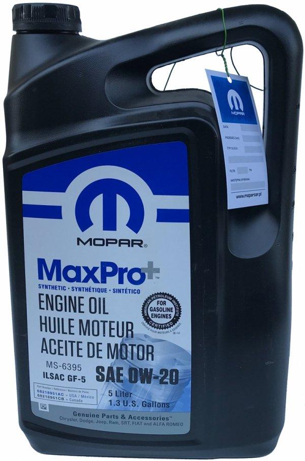 Syntetyczny olej silnikowy 0W20 MOPAR GF-5 MS-6395 5l