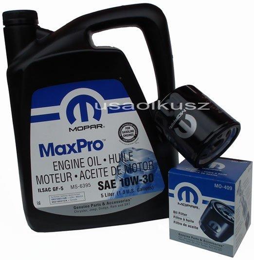 Oryginalny filtr oleju oraz olej MOPAR 10W30 Dodge Caravan 2,0 / 2,4