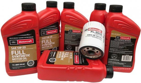Oryginalny filtr oraz olej silnikowy Motorcraft 5W20 Full Synthetic Ford Explorer 3,5 V6 Duratec