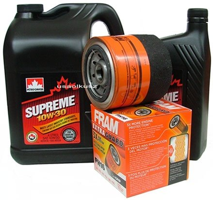 Filtr oleju FRAM PH16 oraz olej SUPREME 10W30 Chrysler Saratoga
