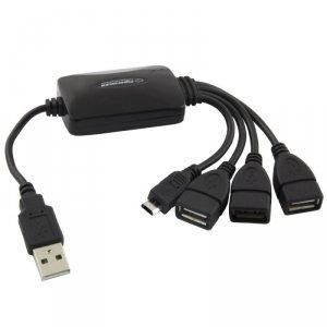 Hub USB Esperanza EA158 3xUSB 2.0 + 1x MICRO USB, czarny