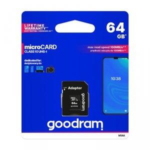 GoodRam karta pamięci microSDXC (64GB | klasa 10 | UHS I) 30/15 MB/s + adapter