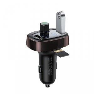 Baseus transmiter FM T-Type Bluetooth MP3 ładowarka samochodowa brązowa