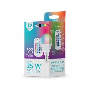 Żarówka LED E14 G45 RGB + Biały 5W z pilotem 250lm Forever Light