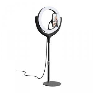 Devia Uchwyt stojak na telefon z lampą LED 12 cali 40cm czarny