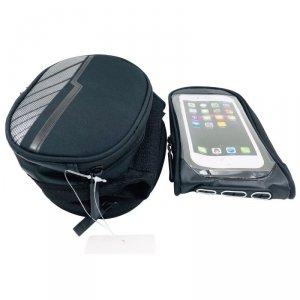 Wodoodporna torba rowerowa z odpinanym pokrowcem na telefon czarna