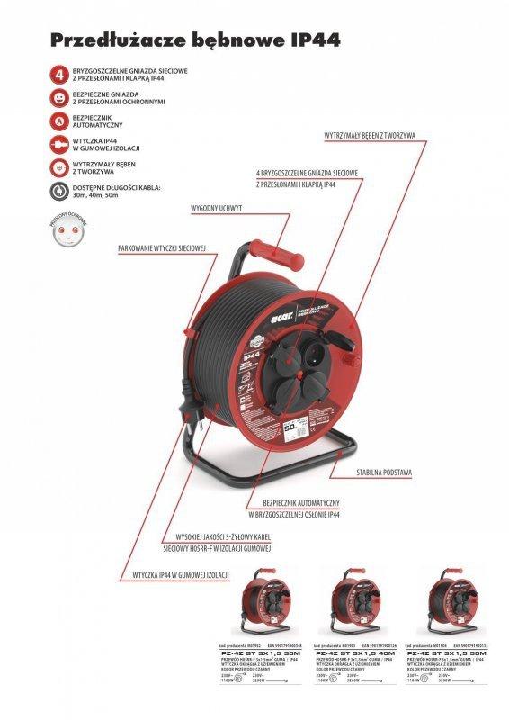 Przedłużacz bębnowy Acar M01952 30m czarny