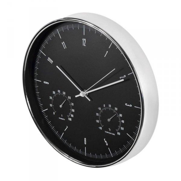 Zegar ścienny Maclean CE60S srebrny 12'' z termometrem i higrometrem