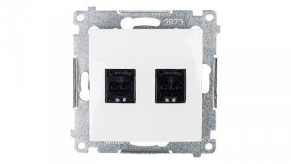 Simon 54 Gniazdo komputerowe podwójne 2xRJ45 kat.6 z przesłoną białe D62.01/11