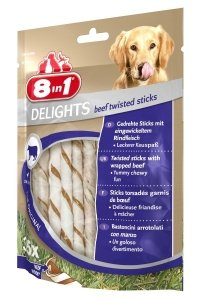 8in1 DELIGHTS STICKS BEEF TWISTED  10szt
