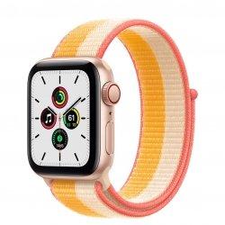 Apple Watch SE 40mm GPS + Cellular Aluminium w kolorze złotym z opaską sportową w kolorze jesiennego liścia/białym