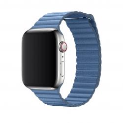 Apple opaska skórzana w kolorze chabrowym do Apple Watch 42/44 mm - Rozmiar M