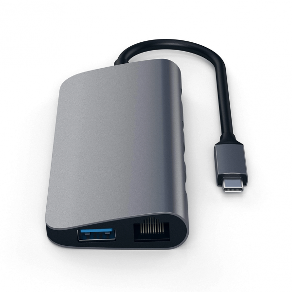 Satechi USB-C Multimedia HUB - Ethernet / USB 3.0 / USB-C PD / HDMI /mini DisplayPort / SD / microSD / Space Gray (gwiezdna szarość)