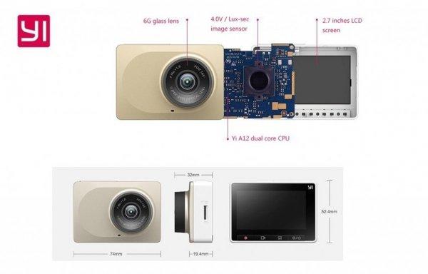 Xiaoyi Yi Dash Camera Rejestrator jazdy Szary
