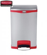 Kosz Slim Jim® Step-On 50L Metal stainless steel / red