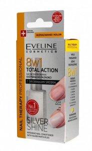 Eveline Nail Therapy Lakier odżywka do paznokci 8w1 Total Action Silver Shine  12ml