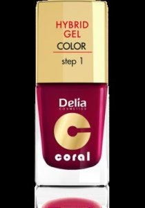 Delia Cosmetics Coral Hybrid Gel Emalia do paznokci nr 12  bordowy 11ml