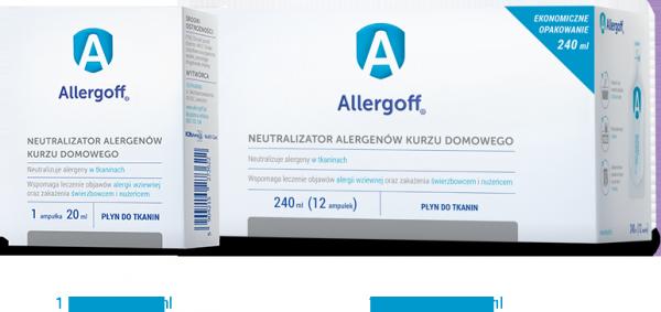 ALLERGOFF płyn do tkanin neutralizujący alergeny kurzu dom. 12 sasz. po 20 ml