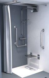 Zasłonka prysznicowa tekstylna biała/beż 120x200cm
