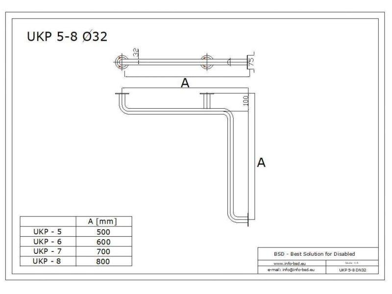 Uchwyt kątowy Prysznicowy dla Niepełnosprawnych 60/60cm biały fi32 + MASKOWNICE