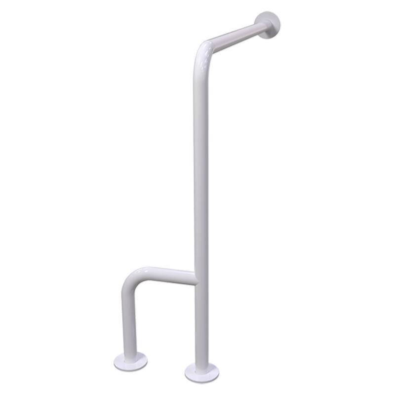 Uchwyt WC dla Niepełnosprawnych mocowany do podł-ścia prawy 80cm biały fi32 + MASKOWNICE