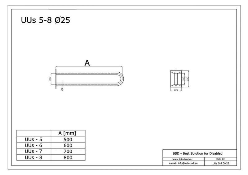 Uchwyt WC / Umywalka dla Niepełnosprawynch stały 80cm stal nierdz fi25