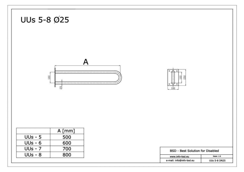 Uchwyt Umywalkowy / WC dla Niepełnosprawnych stały 60 cm biały fi25