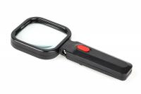 Lupa ręczna podświetlana 80x80mm/3D 4xLED(LR-2)/312072/