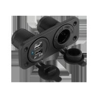 Ładowarka samochodowa 2x USB 3,1A + gniazdo zapalniczki do montażu