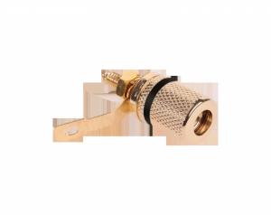 Gniazdo bananowe  montażowe czarne złote metal