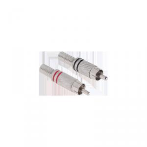 Wtyk RCA nikiel dwa paski czerwony/czarny Cabletech
