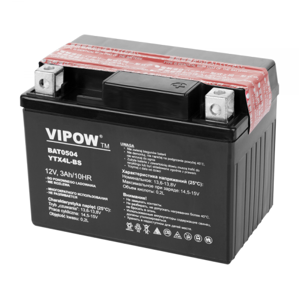 Akumulator VIPOW typ MC do motocykli 12V 3Ah