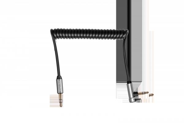 Kabel jack 3.5 kątowy - jack 3.5 prosty sprężynka 1m Kruger&Matz Basic