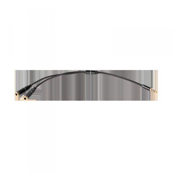 Adapter wt.Jack 3.5 4polowy-2xJack 3.5 stereo 20cm  HQ złote końcówki