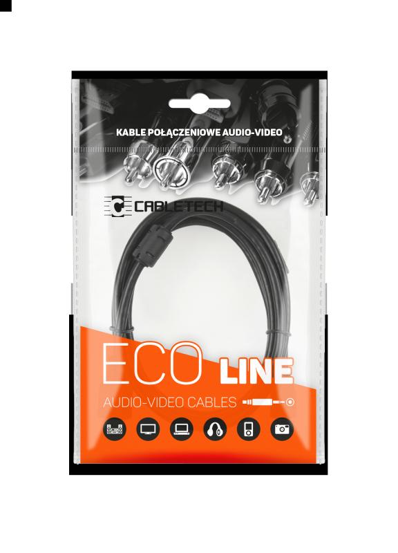 Kabel wtyk jack 3.5 - 2RCA 1.8m Cabletech Eco-Line
