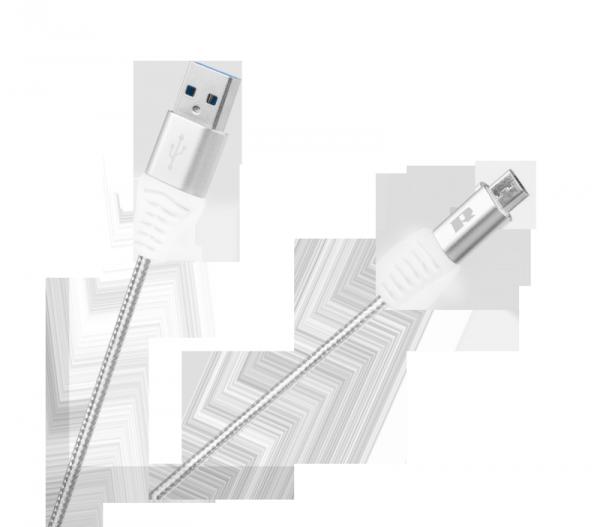 Kabel USB - USB micro REBEL 50 cm biały