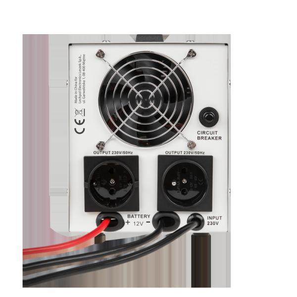 Zasilacz awaryjny KEMOT PROsinus-500 przetwornica z czystym przebiegiem sinusoidalnym i funkcją ładowania  12V 230V 800VA/500W