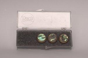 Nakrętki z kamieniami szlachetnymi do wentyli tłokowych do trąbki Vincent Bach Valve Buttons Paua Abalone pozłacane