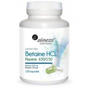 Betaina HCL + Pepsyna 650/150 100 kapsułek Aliness